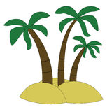 Three palm trees on the island. Raster Royalty Free Stock Photos