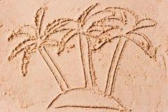 Three palms on a desert island Stock Photo
