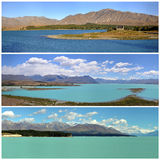 Three panorama views of lake Tekapo Royalty Free Stock Image