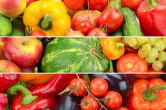 Three panoramic photos of fruits and vegetables in one photo. Stock Photo