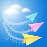 Three paper airplane Stock Photos