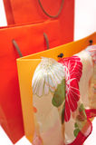 Three paper bags, close-up Royalty Free Stock Photos