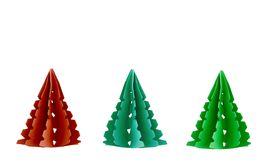 Three Paper Christmas Trees Royalty Free Stock Photo