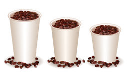Three paper coffee cups with coffee beans Stock Image