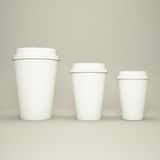 Three paper coffee cups. High resolution Stock Image