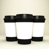 Three paper coffee cups. High resolution Stock Photography