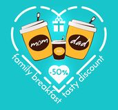 Colorful flat coffee discount business template royalty free illustration