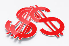 Three paper dollar signs. Three shiny paper dollar signs Royalty Free Stock Image