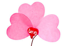 Three paper hearts Royalty Free Stock Image