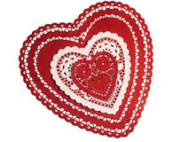 Three Paper Hearts. Of different sizes.  Two red and one white.  On a white background Stock Photos