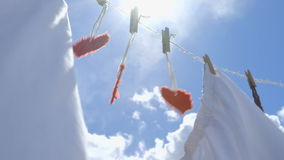 Three Paper Hearts on a Clothesline - symbol for love stock video