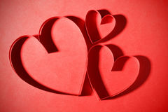 Three paper hearts Stock Photography
