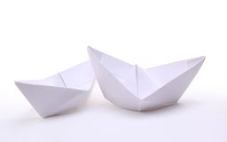 Three paper ships. Isolated on white stock photo