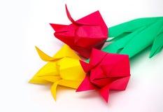 Three paper tulips Stock Photos