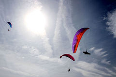 Three parachutes in the sky Royalty Free Stock Photos