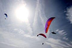 Three parachutes in the sky. Huesca, Spain Royalty Free Stock Photos