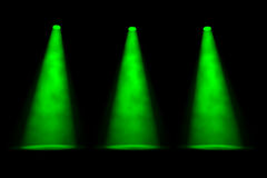 Three Parallel Green Spotlight Beams Royalty Free Stock Photography