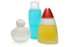 Three Parfume Flasks Stock Image