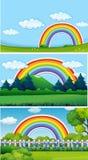 Three park scenes with rainbow. Illustration Stock Images