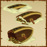 Three parts of the destroyed ship on a parchment royalty free illustration