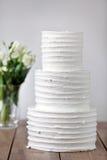 Three parts naked wedding cake.  Royalty Free Stock Image