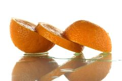 Three parts of one orange Stock Photo