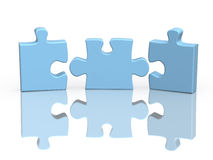 Three parts of a puzzle. Object over white Royalty Free Stock Images