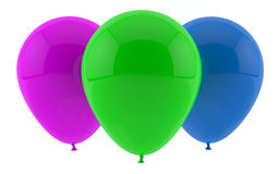 Three party balloons. Group of party balloons isolated on white stock illustration