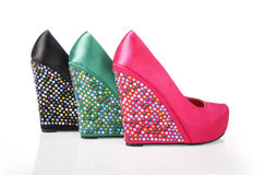 Three Party Crystal Encrusted Wedges. On a white background royalty free stock photos