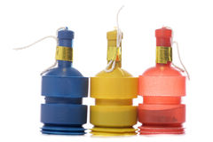 Three party poppers Stock Images