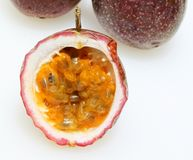 Three passion fruit Stock Photo