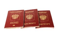 Three passport of the citizen of the Russian Federation. On a white background royalty free stock image