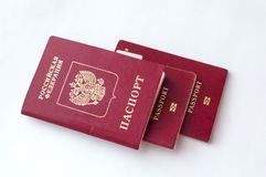 Three passport of the citizen of the Russian Federation on a white background.  stock photo