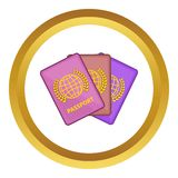 Three passports vector icon Stock Photos