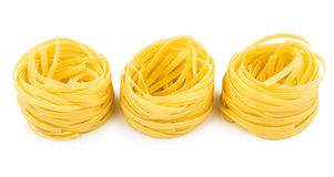 Three pasta in form nest isolated on white Stock Image