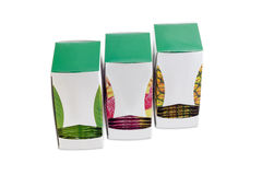 Three pasteboard boxes of tea bags with various green tea Royalty Free Stock Images