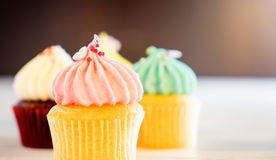 Three Pastel color Cupcake muffins bright lighting Stock Photos