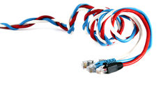 Three patchcords over white Stock Image
