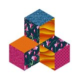 Three patchwork cubes. Vector illustration. Royalty Free Stock Photos