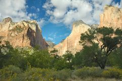 The Three Patriarchs, Zion. Captured in Zion National Park, Utah, The Three Patriarchs seen lit up soft in early morning sunlight Stock Photos
