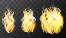 Three pattern of fire on black background. Illustration Stock Photo