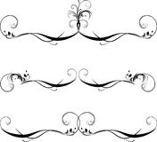 Three patterns for frame. Black isolated on the white. Illustration Royalty Free Stock Photo