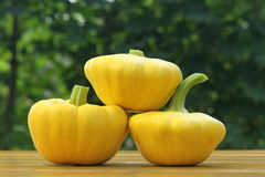 Three patty pan squashes Royalty Free Stock Photos