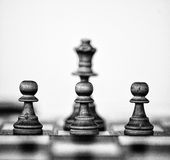 Three pawns and a queen. Three wooden white pawns and a white queen Stock Images