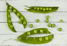 Three Pea Pods Stock Photography