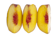 Three peach slices in a row Royalty Free Stock Image