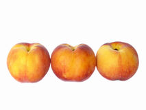 Three peaches. Row of three peaches, isolated over white Royalty Free Stock Photo
