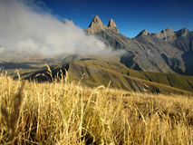 Three peaks Aiguilles d'Arves in French Alps, France. Royalty Free Stock Images