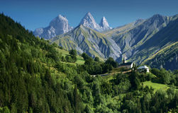 Three peaks Aiguilles d'Arves in French Alps, France. Aiguilles d'Arves, Grandes Rousses, Dauphine Alps, France Royalty Free Stock Image