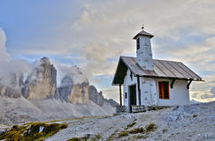 Three Peaks Lavaredo Chapel Royalty Free Stock Photography